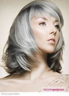 Medium Length Cut dyed silver hair