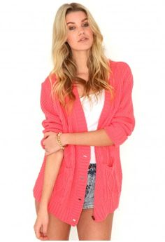 Valonia Cable Knit Cardigan In Coral - http://www.missguided.co.uk/catalog/product/view/id/65281/s/valonia-cable-knit-cardigan/category/493/