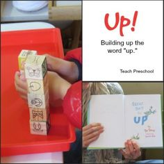 """Building up the word """"up!"""": U is for UP Week idea for block center!"""