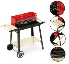 Portable Charcoal BBQ Grill Stand Outdoor Barbeque Trolley Stove Picnic Garden  #Unbranded