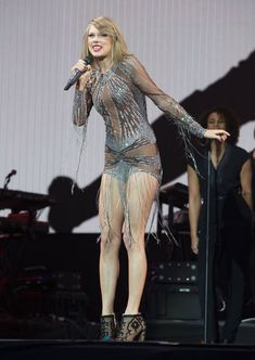 With her endless legs on show and a tasselled sheer leotard, Taylor Swift burst onto Radio 1's Big Weekend stage in Earlham Park determined to impress. Description from mirror.co.uk. I searched for this on bing.com/images
