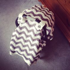 Crochet Pattern for Chunky Chevron Car Seat Canopy Cover - Welcome to sell finished items by crochetbyjennifer on Etsy https://www.etsy.com/listing/218144669/crochet-pattern-for-chunky-chevron-car