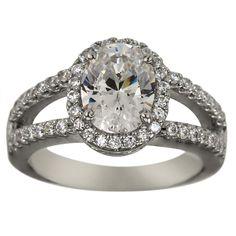 Classic Oval Pave Diamond Engagement Mount With Split Shank -  This classic oval engagement ring :)