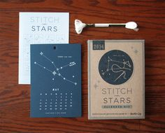 An easy DIY allows you to stitch a constellation each month of 2017. Connect the dots using the glow-in-the-dark embroidery thread and needle provided. Just poke and stitch; it's super-easy! No embroi