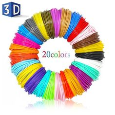 Pen Filament CFTech Filament Refills PLA Material 20 Color/ 16 Feet Per Color Plastic Doodle Supplies Kit Work with Printing Drawing Painting Pen and Printer 3d Printer Price, 3d Printer Parts, 3d Filament, 3d Printer Filament, 3d Printing Materials, 3d Printing Business, 3d Printer Supplies, Craft Supplies, Diy Gifts For Kids