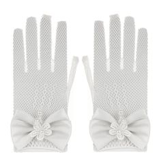 34cb3a8d87 Flower Girl Satin Bowknot Lace Mesh Gloves. Material  High Stretchy Gauze