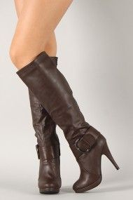 Anne Michelle Captivate-09 Buckled Round Toe Knee High Boot