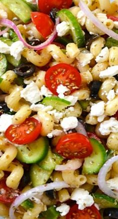 Greek Pasta Salad with Red Wine Vinaigrette. Looking forward to trying this recipe but I will leave out the sugar.