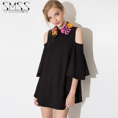 2015 Summer Women New Fashion Peter pan flower collar sexy Off the Shoulder Loose Casual Dress Vestidos