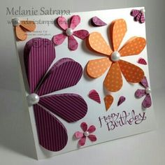 Heart flower birthday card by Melanie Satrapa (Use double sided patterned paper. Flower Birthday Cards, Happy Birthday Cards, Flower Cards, Paper Flowers, Cute Cards, Diy Cards, Card Making Inspiration, Card Tags, Paper Cards