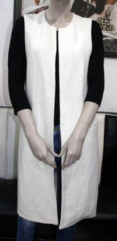 Biela dlhá elegantná vesta / OutletModa - outlet moda, ...
