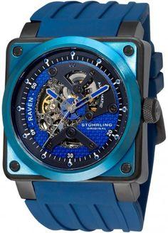 | ThePleasureloft.com | Stuhrling Raven Rebel Blue Automatic Skeleton Watch