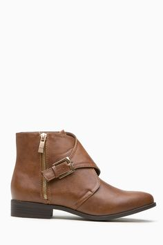 Chestnut Faux Leather Gold Accent Ankle Boots @ Cicihot Boots Catalog:women's winter boots,leather thigh high boots,black platform knee high boots,over the knee boots,Go Go boots,cowgirl boots,gladiator boots,womens dress boots,skirt boots.