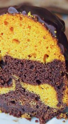 Chocolate Pumpkin Marbled Bundt Cake with Chocolate Glaze | upstateramblings.com | Fall, Autumn, chocolate recipes, pumpkin desserts, marble cake