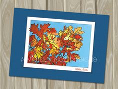 Oak Leaves in Whistler Canada  - blank note card by Awfully Nice Designs.