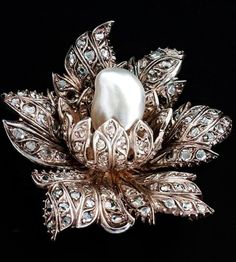 French Diamond and Pearl brooch.