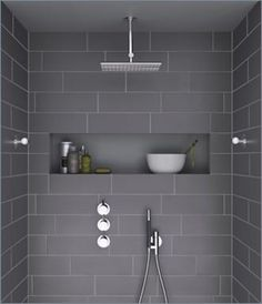 tapware layout - overhead shower, handshower, 3 mixers (inc for bathtub) and inset shelf in tiles