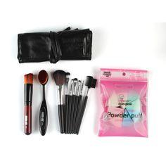2017 Hot 10PCS Makeup Brush + 8PCS Powder Puff Sponge Fashion 1Sets Foundation Blusher COSMETIC TOOLS KITS  Mar7