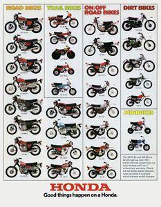 Vintage Motorcycles Classic 1974 Honda Line Up Full Line Vintage Motorcycle Poster Print Vintage Honda Motorcycles, Honda Bikes, Honda Cb750, Cool Motorcycles, Honda 125, Honda Scrambler, Cb550, Enduro Vintage, Vintage Bikes