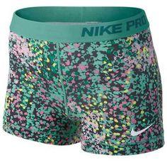 Nike Nike Pro Printed Short featuring polyvore, fashion, clothing, shorts, nike, green shorts, short shorts and nike shorts