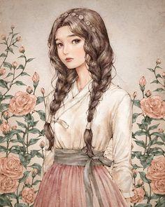 watercolour illustration girl with braids pink roses Illustration Girl, Watercolour Illustration, Girl Illustrations, Illustration Fashion, Anime Art Girl, Anime Girls, Aesthetic Art, Cartoon Art, Cute Drawings