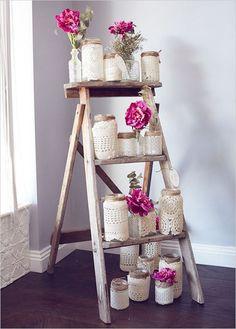 mason jars on ladder wedding ideas - Deer Pearl Flowers