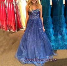 Long prom dress, homecoming dress, beautiful sky blue chiffon sweetheart dress for teens #coniefox #2016prom