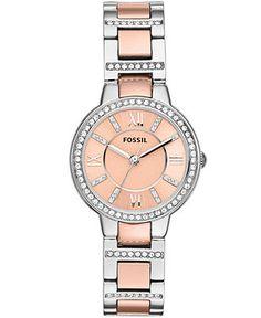 Fossil Watch, Women's Virginia Two-Tone Stainless Steel Bracelet