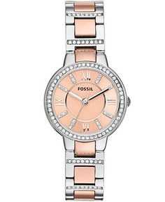 Fossil Watch, Women's Virginia Two-Tone Stainless Steel Bracelet
