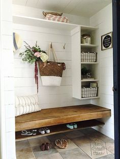 to Mudroom - Tutorial for how to turn a hallway closet into a gorgeous and functional mudroom.Closet to Mudroom - Tutorial for how to turn a hallway closet into a gorgeous and functional mudroom. Closet Bench, Hallway Closet, Entryway Bench, Mudroom Benches, Entryway Ideas, Storage Benches, Closet Mudroom, Entryway Decor, Door Entryway