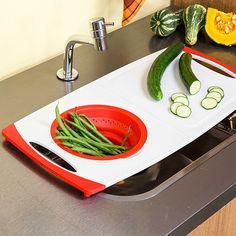 Tábua com Escorredor Dobrável em Silicone Vermelho - La Cuisine