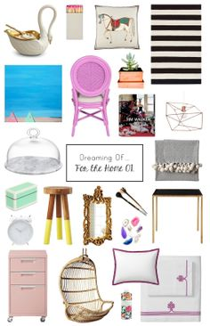 """@Molly {Dreams in HD} shares her colorful springtime picks for the home including """"Beach Buddies"""" by Paul Pedella, our Dip Dyed Stool in Citrine, the Hanging Rattan Chair and Berry Bedding!"""