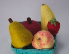 set of five small needlefelted fruits- apple, peach, banana, strawberry, and pear