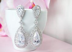 Chandelier Teardrop Statement Earrings Chandelier by ElleBridal, $63.00