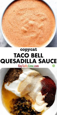 recipes Copycat Taco Bell Quesadilla Sauce This copycat Taco Bell Quesadilla Sauce comes together in just a few minutes. It's creamy, full of flavor, a little tangy, and just spicy enough (not to mention downright delicious). Taco Bell Quesadilla Sauce, Taco Bell Baja Sauce, Quesadilla Recipes, Breakfast Quesadilla, Chicken Quesadillas, Steak Quesadilla, Gourmet, Appetizer Recipes, Mexican Food Recipes