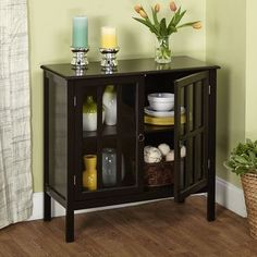 Beachcrest Home Bitmore Cabinet with Wooden Top Finish: Black