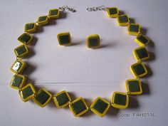 Handmade Jewelry - Paper Quilling Square Set  (FAH0116) (1)