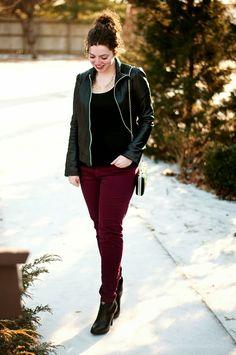 Leather jacket + Maroon Pants