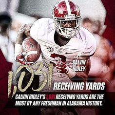 Calvin Ridley has the most receiving yards by a freshman in Alabama history. #rolltide #huntfor16