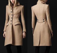 Pretty lines! Burberry Prorsum Light Brown Virgin Wool Sculpted Wasp Waist Princess Coat IT 40 Burberry Coat, Burberry Prorsum, Hijab Fashion, Fashion Outfits, Womens Fashion, Fashion Trends, Fashion Coat, Mode Mantel, Coats For Women