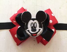 Mickey Mouse Bow Headband, Mickey Mouse-Inspired Hair Bow Headband, Mickey Minnie Mouse Birthday Headband, Red, White, and Black Headband