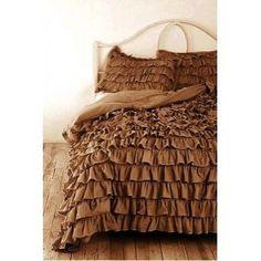 Waterfall Ruffle Duvet Covers Egyptian Cotton 1000TC Chocolate