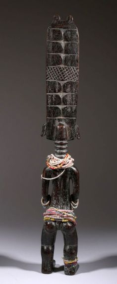 Africa | Back veiw; Doll from the Fanti people of Ghana | Wood and glass beads | ca. 30 yrs old