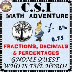 CSI math mystery adventure. Fractions, decimals and percentages math fun.