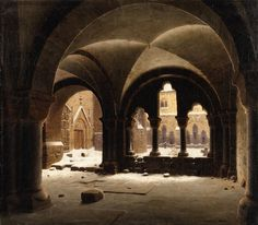 Artwork by Carl Georg Adolph Hasenpflug, View of a Cloister, Made of Oil on canvas Fantasy Landscape, Fantasy Art, Carl Friedrich, Medieval, Dark Castle, Fantasy Places, Catholic Art, Victorian Art, Historical Architecture