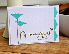 Inky Fingers simple thank you card with memory box poppy die and clear embossed quatrefoil background. Scrapbooking, Scrapbook Cards, Making Greeting Cards, Greeting Cards Handmade, Memory Box Cards, Poppy Cards, Card Maker, Sympathy Cards, Card Tags