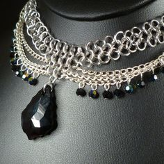 1e48e4281 Black Baroque - Chain Maille Necklace with Swarovski Crystals