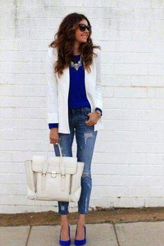 Blaser blanco azul