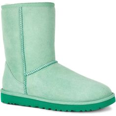 UGG Women's Classic Short Green Glass Boots ($130) ❤ liked on Polyvore featuring shoes, boots, ankle booties, green, low heel ankle booties, ugg australia, low heel suede boots, short boots and short booties