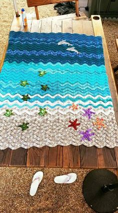 """""""Race to the Sea"""" Baby sea turtle blanket by Carole Glass (KaniLea on Ravelry) """"Race to the Sea"""" Baby sea turtle blanket by Carole Glass (KaniLea on Ravelry) Crochet Afgans, Baby Afghan Crochet, Afghan Crochet Patterns, Crochet Stitches, Knitting Patterns, Crochet Blankets, Beach Crochet, Crochet Home, Crochet Gifts"""